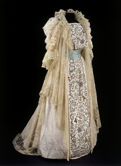 1900 Tea Gown Woven silk damask embroidered with glass, metal thread and beads, and embroidered net and lace