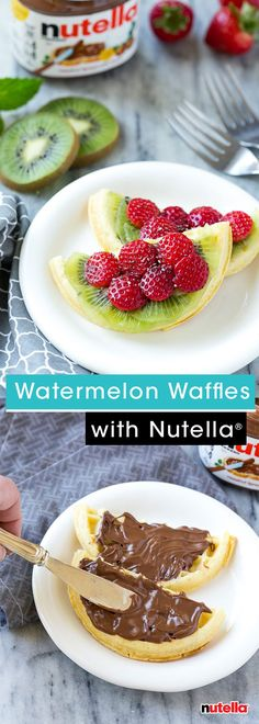 Looking for a fresh take on breakfast? Whip up these adorable watermelon waffles by Dinner At The Zoo. Cut your favorite frozen waffles in half and spread with Nutella®. Use kiwis for the rind, then top with strawberries and chia seeds. The finished product is sure to make your kids feel one in a 'melon.'