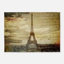 shabby chic paris eiffel tower 5'x7'Area Rug for