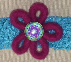 Headband Felt Flower Purple and Turquoise by Blossomshkd on Etsy, $12.00