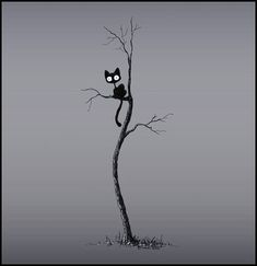 The cat in the tree by Stuffed Kitty on deviantart. Art of the cat illustration. Foto Fantasy, Fantasy Witch, Image Chat, Photo Images, Pictures Images, Black Tree, In The Tree, Crazy Cats, Cat Art