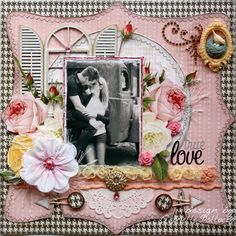 Scrap page made by design team member Gabrielle Pollacco using Webster's Pages NEW Modern Romance Collection papers & embellishments