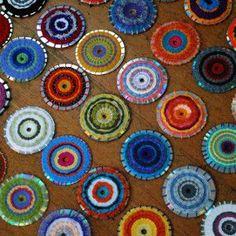Weaving on a CD - circle weaving - upcycle CD art - CD loom -
