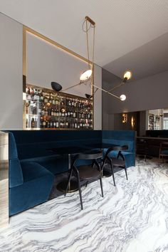 Travel Directory - T'a - Milan, Italy | Wallpaper* Magazine (j) blue velvet + high gloss brass + stone.