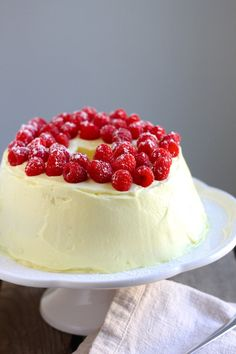 Lemon Raspberry Angel Cake