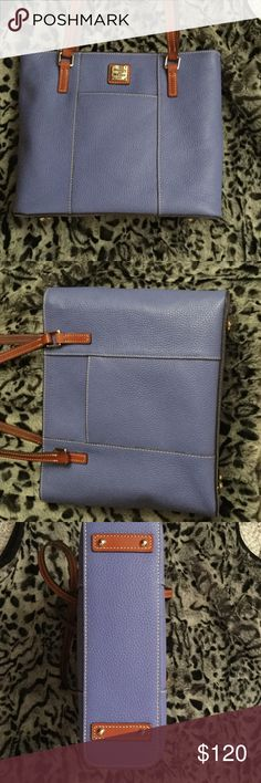 """DOONEY AND BOURKE LEXINGTON SHOPPER Dooney pebble leather small Lexington shopper, color is lavender, inside has red lining with slip and zipper,pocket on backwall, 2 slip pockets on front wall,  2 pockets on outside of bag, zipper closure, strap drop is 10-1/2"""", 10"""" height, 12"""" wide, 3-1/2"""" depth, slightly used in excellent xo diction no stains or ink marks on inside or outside from a smoke free home. Dooney & Bourke Bags Shoulder Bags"""