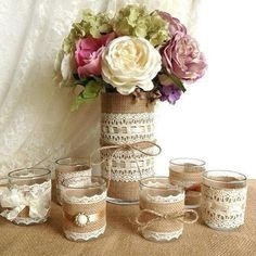 burlap and lace covered votive tea candles and vase country chic wedding decorations, bridal shower decor, home decor by PinKyJubb on Etsy Chic Wedding, Trendy Wedding, Rustic Wedding, Our Wedding, Wedding Ideas, Wedding Country, Wedding Burlap, Wedding Vintage, Wedding Inspiration
