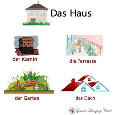 German Language Course, German Language Learning, Study German, Learn German, Vocabulary, School, Tips, House, Vocabulary Words