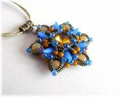 Beaded pendant, beadwork pendant blue Tara