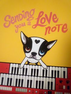 "Sending you a Love Note❤️"", French Bulldog/Boston Terrier illustration by Lili Chin."