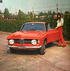"Françoise Hardy Alfa Romeo, Monza, 1966 Backstage of the movie ""Grand Prix"""