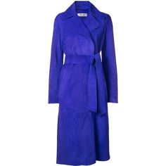 Dvf Diane Von Furstenberg tie-waist trench coat (€3.215) ❤ liked on Polyvore featuring outerwear, coats, blue, diane von furstenberg, suede coat, blue trench coat, royal blue trench coat and suede trench coats