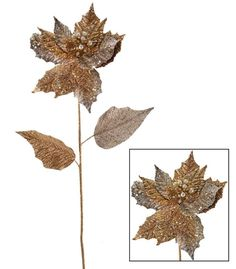"""Katherine's Collection TWELVE 26"""" ROYAL GOLD Embellished Poinsettia Stems Sale!"""