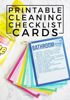 These colorful Printable Cleaning Checklist Cards will help tackle everyday household chores! Plus ideas on how to make a simple cleaning caddy! Deep Cleaning Tips, House Cleaning Tips, Cleaning Solutions, Cleaning Hacks, Diy Hacks, Cleaning Schedules, Cleaning Schedule Printable, Zone Cleaning, Printable Chore Chart