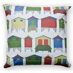 Muizenburg Huts cushion cover Scatter Cushions, Throw Pillows, African Interior, Out Of Africa, Conceptual Design, Repeating Patterns, Interesting Stuff, Fashion Prints, Textile Design