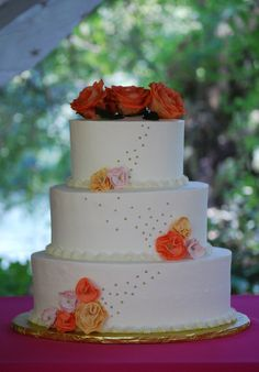 Oval Wedding Cake with Orange, Yellow & Pink Gum Paste Poppies - toptierweddingcakes.dotphoto.com
