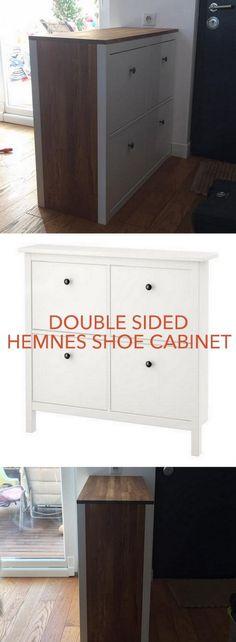 Double sided HEMNES shoe storage http://www.ikeahackers.net/2017/03/double-sided-hemnes-shoe-storage.html
