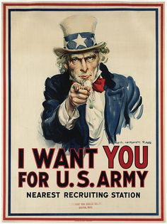 U.S.  I Want You for U.S. Army poster, WWI, 1917 // James Montgomery Flagg | via Flickr by Boston Public Library