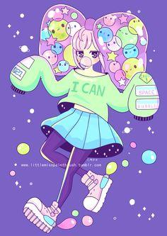 Space Bubble Girl by littlemisspaintbrush.deviantart.com on @DeviantArt