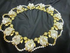 Vintage-MIRIAM-HASKELL-Choker-Necklace-Glass-Crystals-Rhinestone-Signed