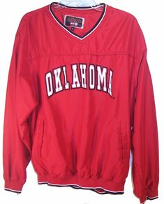 fdaeea9f7c5 UNIVERSITY OF OKLAHOMA SOONERS Baseball Jacket V Neck Pull Over Mens M   ColosseumAthletics  OklahomaSooners