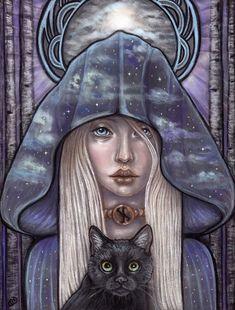 Nauthiz Rune Maiden Norse Pagan Fine Art print by by MoonSpiralart