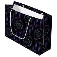 Purple Lavender Black Teal Floral Large Gift Bag - purple floral style gifts flower flowers diy customize unique