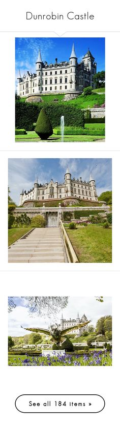 """Dunrobin Castle"" by marywindsor ❤ liked on Polyvore featuring backgrounds, home, outdoors, outdoor decor, garden patio decor, outdoor garden decor, garden decor, house, flower stem and home decor"