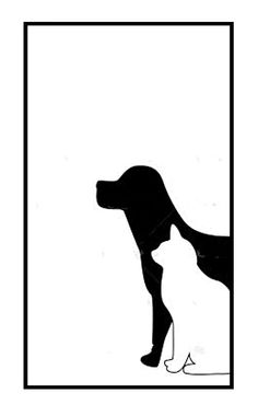Dog & Cat Contrast Silhouette Silhouette Clip Art, Animal Silhouette, Animal Line Drawings, Cat Posters, Animal Logo, Animal Crafts, Colouring Pages, Dog Art, Wallpaper S