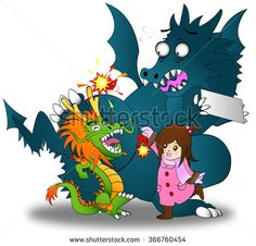 Cartoon illustration of little Asian Chinese girl playing firecracker with both Chinese and Western dragon celebrating Chinese New Year festival in isolated background, create by vector