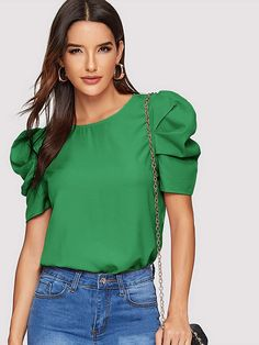Shein Solid Keyhole Back Puff Sleeve Top Pop Fashion, Fashion Outfits, Womens Fashion, Blouse Styles, Blouse Designs, Types Of Sleeves, Blouses For Women, Women's Blouses, Ideias Fashion