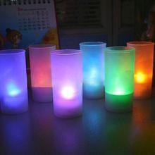 Excellente qualité Led 7 changement de couleur scintillement coupe sans flamme lumière bougie bougies Wedding Party de noël décoration lampe(China (Mainland))