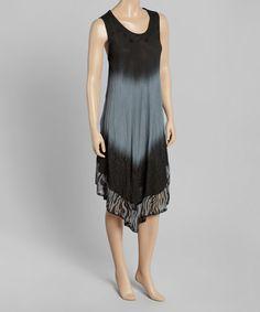 Love this Gray & Black Zebra-Trim Shift Dress on #zulily! #zulilyfinds