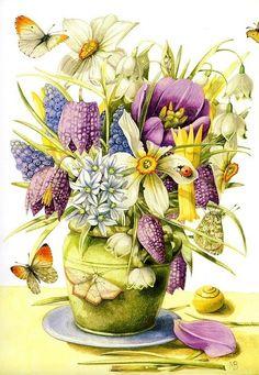 Fleurs de Printemps - Aquarelle de Marjolein Bastin