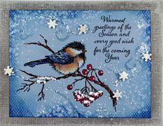 Marie Browning, #tombowusa designer, created this stunning Snow Bird card. #stampendous #stamping