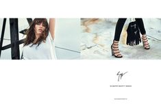 Grace Hartzel wears an studded and grommet embellished styles leather shoes stars in Giuseppe Zanotti spring-summer 2016 campaign