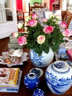 Anna Spiro nails the blue and white look i love. my current coffee table is styled very much like this and i love it.
