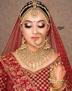 Bridal Makeup Images, Asian Bridal Makeup, Bridal Makeup Looks, Bridal Hair And Makeup, Indian Bridal Photos, Indian Bridal Outfits, Bridal Dresses, Beautiful Indian Brides, Beautiful Bride