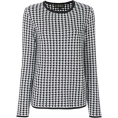 Giambattista Valli houndstooth pattern jumper ($1,855) ❤ liked on Polyvore featuring tops, sweaters, black, patterned sweater, patterned tops, jumpers sweaters, print sweater and mixed print top