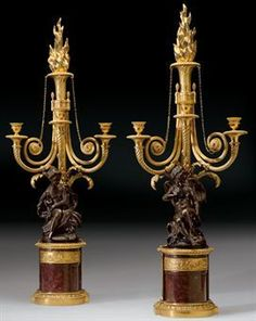 A pair of Louis XVI ormolu and patinated-bronze three-branch candelabra , circa 1780, attributed to François Rémond, almost certainly supplied by Dominique Daguerre, , the bronzes after the model by Etienne Maurice Falconet. photo Image 2009 Christie's Ltd