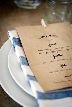 Place setting + favor bag