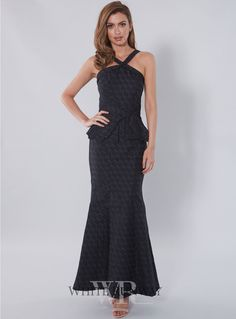 Dusk To Dawn Dress. A stylish full length dress by Australian designer Honey & Beau. A halter style featuring a fitted bodice with ruffle peplum on the waistline.