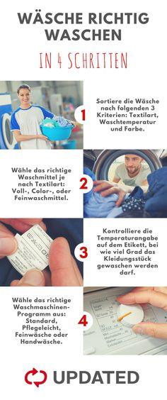 Wäschen richtig waschen in 4 Schritten! #Wäsche #waschen #Waschmittel #Waschmaschine #Lifehacks