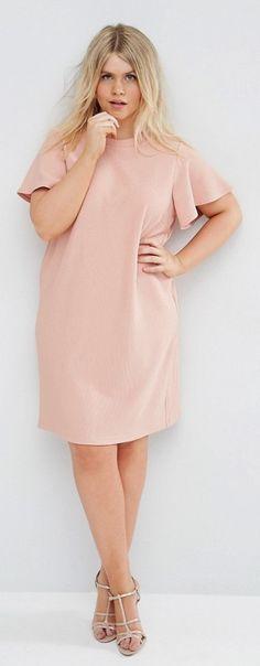 Plus Size Shift Dress with Ruffle