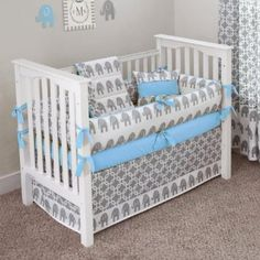 Amazon.com: CUSTOM BOUTIQUE BABY BEDDING - Ele Blue - 5 Pc Crib Bedding Set: Baby