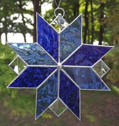 Stained Glass Suncatcher Quilt Star Royal Blue by HillLillyDesigns