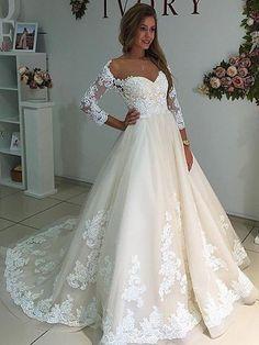 Unique A-line Long Sleeves White Lace Long Wedding Dress