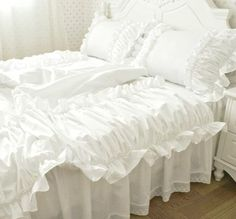 Romantic Ruffled Ruched 4pcs 100% Cotton Garden by QueenAndCastle