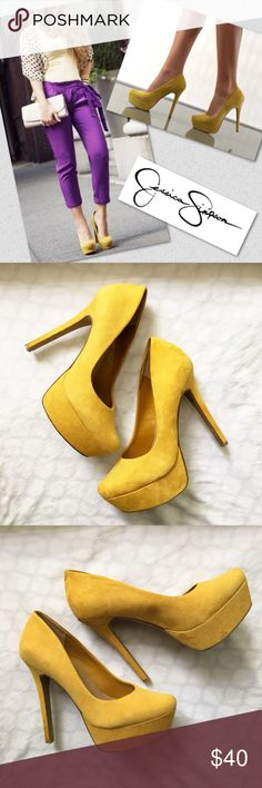 """WALEO"" Heels Put your stamp on alluring style with this exotic platform pump featuring deep yellow suede, pointed toe design and sky-high straight heel. By Jessica Simpson  Product Information • Heel Height - 5 1/8"" • Platform - 1 5/8"" • Material - Suede • Toe - Almond ✅accepting offers 🔁no trades 🙅🏾no modeling 🔸slight discoloration at the heel. Pic above. 🔸 Jessica Simpson Shoes Heels"