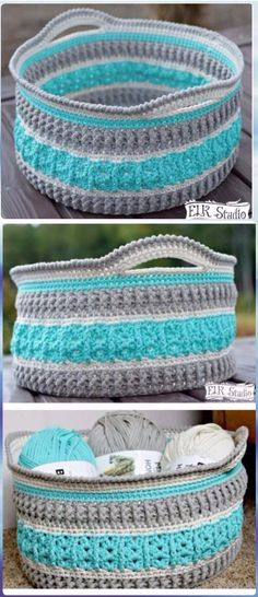 Crochet Projects DIY Crochet Storage Basket The Sea Glass Basket Free Pattern - DIY Crochet Storage Basket Free Patterns with Picture Instructions: Crochet Basket for home organization and storage, functional and decorative. Crochet Gratis, Crochet Diy, Crochet Home, Crochet Ideas, Crochet Basket Tutorial, Crochet Basket Pattern, Crochet Patterns, Crochet Baskets, Crochet Handbags